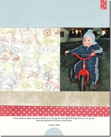 Kristine Nordrik scrapbooking Liams sykkel