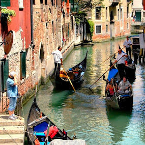 Traffic in the Canal by Francis Xavier Camilleri - City,  Street & Park  Historic Districts ( gondola, tourists, action, venice, sea, canal, activity,  )