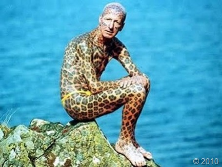 have his body covered in leopard print spots. Tom Leppard was once co.