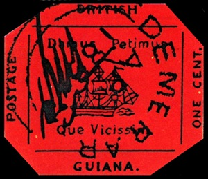 British Guiana One Cent Black on Magenta