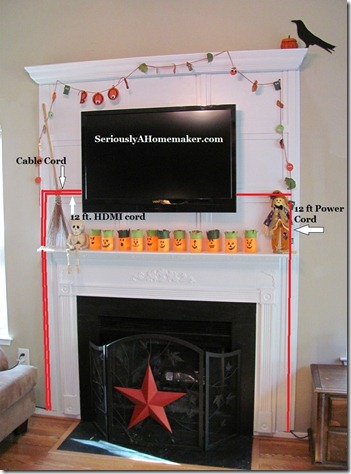 tv cords hidden in fireplace with text