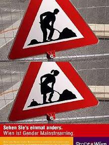 Uzmanību, sieviete uz ceļa strādā