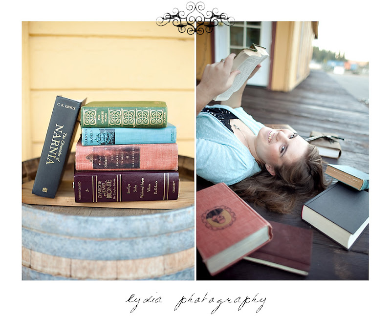 Emi reading books for her senior portraits at Colfax California
