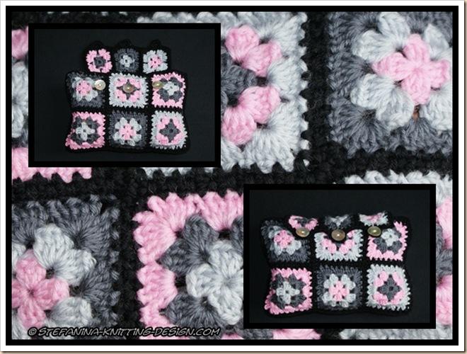 pochette noire-grise-rose
