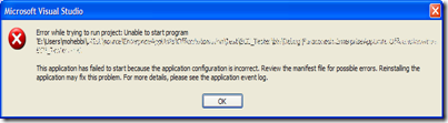 This application has failed to start because the application configuration is incorrect