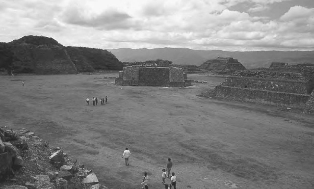 Building J at Monte Alban, Mexico, showing its anomalous orientation, as viewed from Building P, upon which it is aligned.