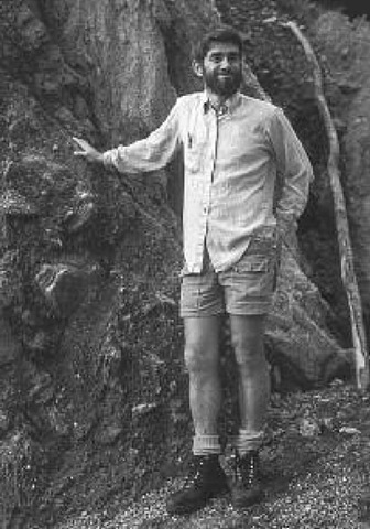 Peter Molnar at a rock exposure at the Alpine Fault in New Zealand in 1984