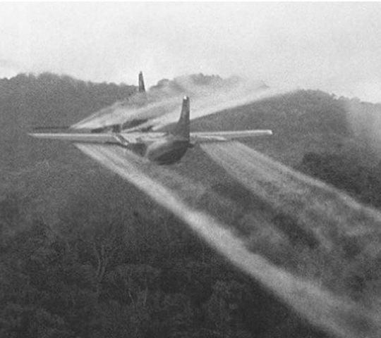 A C-123 completes an Operation Ranch hand mission during the Vietnam War. The aerial spraying of herbicides such as Agent Orange, code-named Operation Ranch hand, led to health claims by veterans and civilians who suffered ill effects from exposure to the chemicals.
