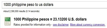 google search money conversion