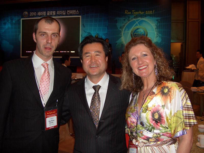 Julie & Geoff with Moo-Soo Lee, President of CERAGEM Europe