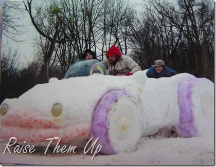 snow car with crazy driver