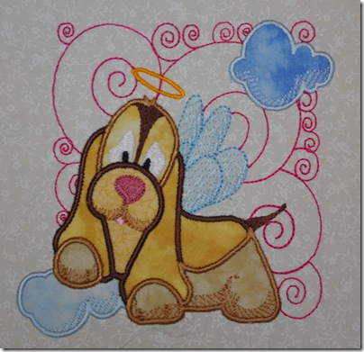 Appliqued Angel Puppies 006