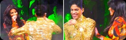 Prince ao lado de Kim Kardashian no palco