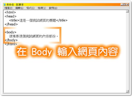 在 Body 區輸入網頁內容