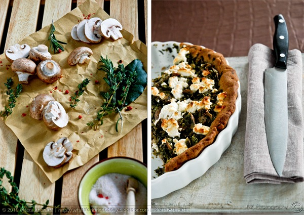 Kale Mushroom and Goat Cheese Buckwheat Tart (diptych) by MeetaK