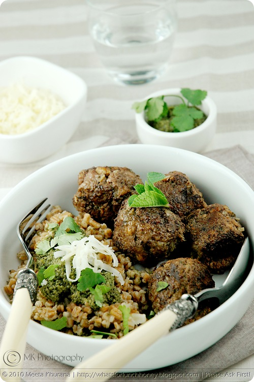 Mint Lamb Meatballs with Spelt Risotto Coriander Pesto (03) by MeetaK