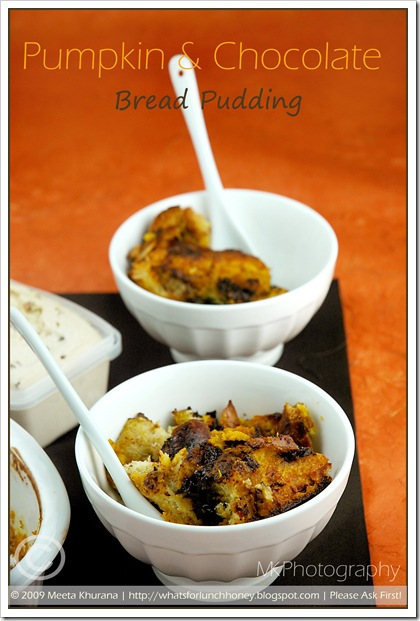 Roasted Pumpkin and Chocolate Bread Pudding