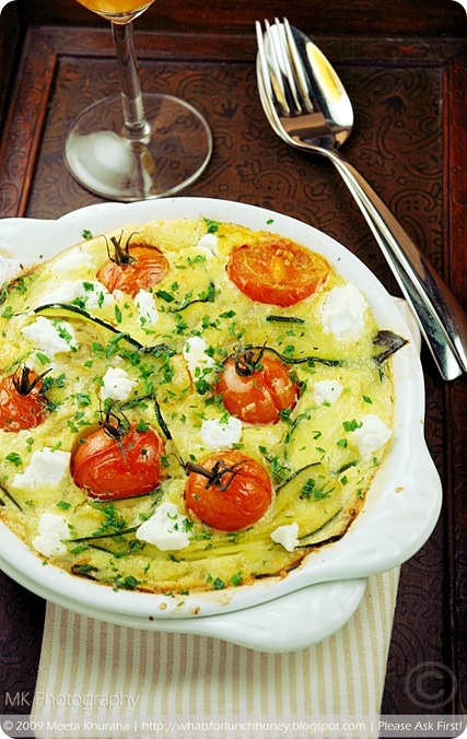 Tomato Zucchini & Goat Cheese Clafoutis (03) by MeetaK