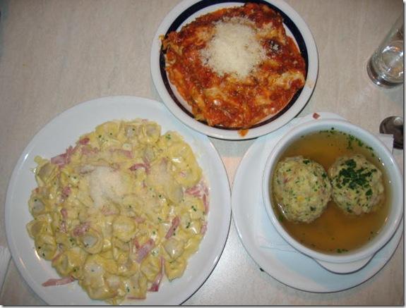 tortellini, lasagna, canederli in Plose