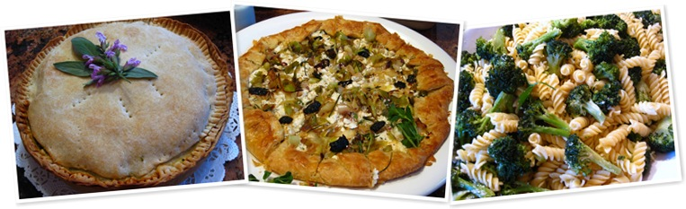 View goat cheese pizza, broccoli, spinach pie