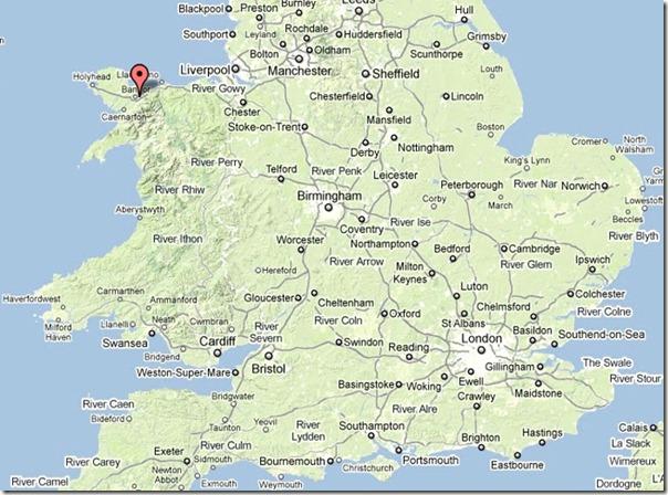 На карте отмечен замок Пенрин в Северном Уэльсе
