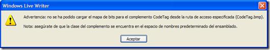 Advertencia: no se ha podido cargar el mapa de bits para el complemento CodeTag desde la ruta especificada (CodeTag.bmp)