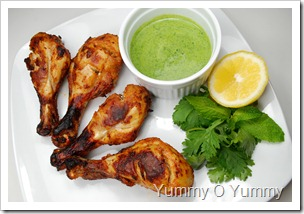 Tandoori Chicken with Green Chutney