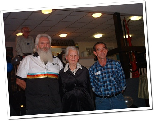 Founding members Murray Richards and Gary Kelly with Life Member Estelle Sinclair