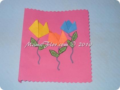 Tarjeta hecha con Flores de Papel
