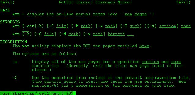 "Unix 命令行模式展示的 ""Man"" 页面"