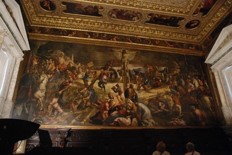 丁多列托(Tintoretto)《耶穌被釘十字架》局部圖,來源:http://bluoscar.blogspot.com(裡面其實不能拍照,這個人狂拍)