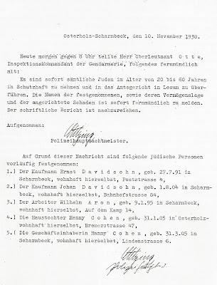 Polizeiprotokoll Johan Davidsohn Schutzhaft