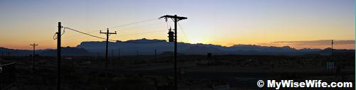 First rays on Chisos Mountains - from El Dorado Motel 28 Nov 2009