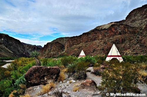 Tee Pee Rest Area viewed from Rio Grande