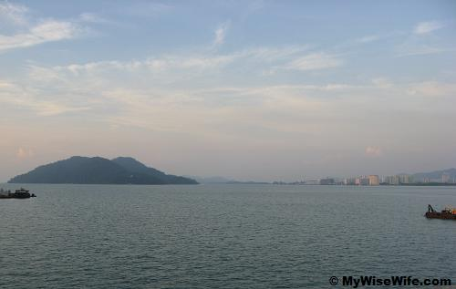 Pulau Jerejak and Queensbay from Penang Bridge