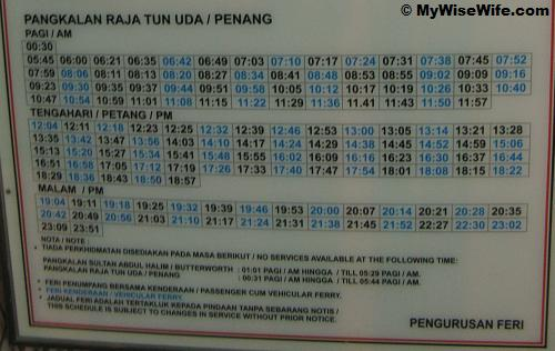 Penang Ferry Services - Departure from Penang Island Schedule