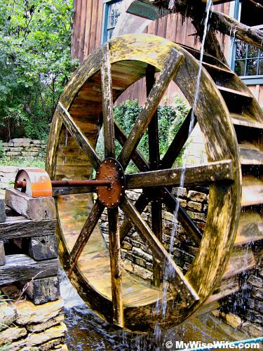 Water wheel to drive the mill
