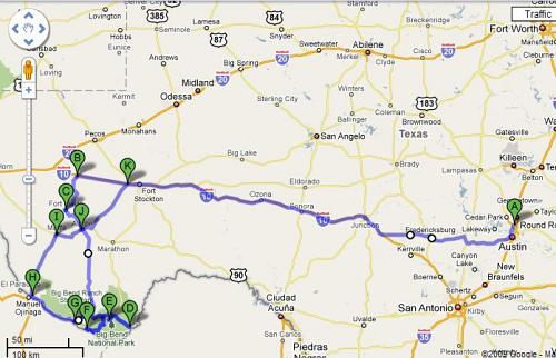 Our road trip - courtesy of Google Map