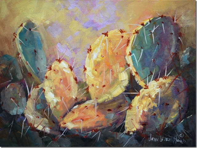 Prickly Pear Cactus in Yellow, Oil painting