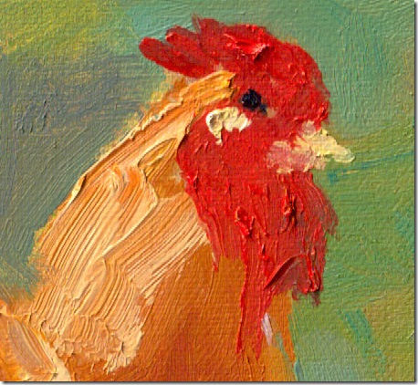 Chicken painting in oil detail