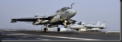 EA-6B Prowler electronic attack aircraft landed on the deck of the USS Washington