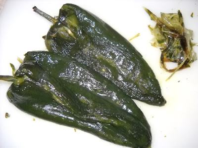 peeled poblanos