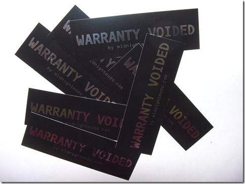 "Midnight Mods ""Warranty Void"" Chrome Sticker"