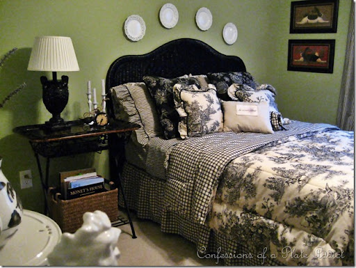 Changes In The Toile Bedroom...and...Easy Frenchy Candles
