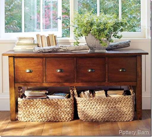 Console Table With Baskets Underneath Source · CONFESSIONS OF A PLATE  ADDICT My Pottery Barn Inspired Under The