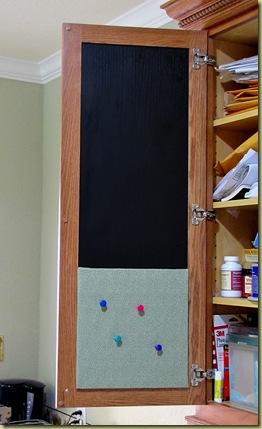 chalkboard cabinet door hung