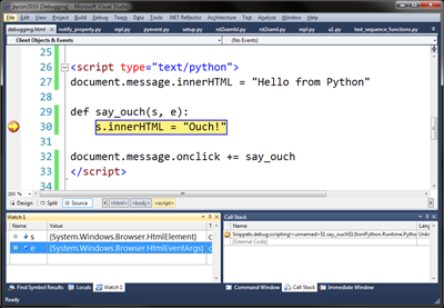 VS2010 IronPython Silverlight debugging