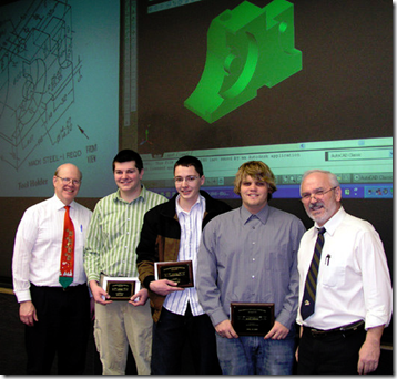 Slobodan Urdarevik (right), lead faculty for IME 1420 Engineering Graphics, with<br />(L to R) Dr. Paul Engelmann, IME chair, and Spring AutoCAD winners Blair Ward (3rd), Brandon Weeda (2nd), and Russell Parsons (1st); Parson&#8217;s winning drawing is shown