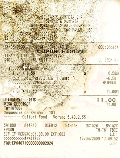 Nota fiscal do Cinearte Pompéia