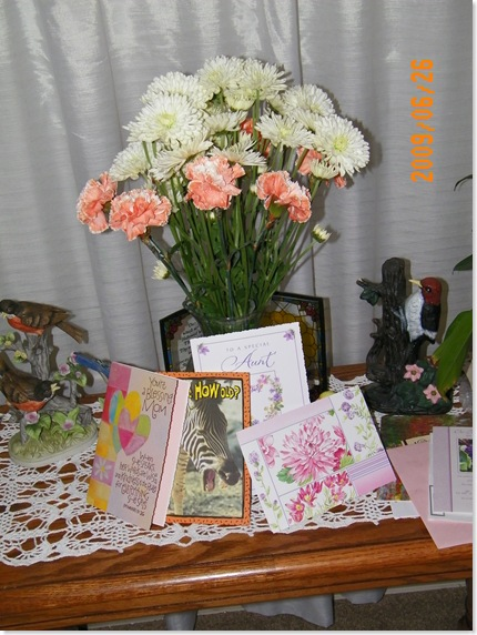 Mama Trudy's flowers from Pat, next door, and Carmen